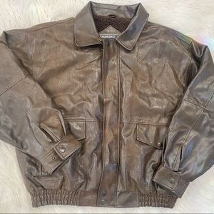 Mountain club leather brown bomber jacket for men